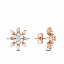 Pave 0.57 Cts Natural Diamonds Stud Earrings In Fine Hallmark 14Carat Rose Gold
