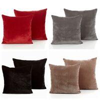 Luxury Simple Plain Modern Rich Velvet Velour Decor Scatter Filled Cushion Cover