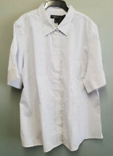 BNWT Ladies Sz 26 Stylecorp Brand White Blue Stripe Short Sleeve Style Shirt