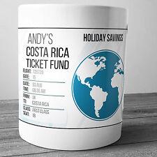 COSTA RICA PERSONALISED HOLIDAY SAVINGS MONEY BOX TRAVEL FUND