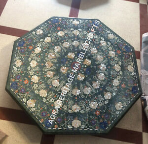 """36"""" Green Marble Dining Table Top Mother of Pearl Multi Pietra Dura Decor H5368A"""