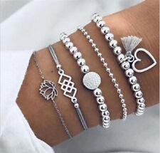 5Pcs Fashion Women Boho Heart Hollow Lotus Beads Tassel Bracelet Bangle Jewelry