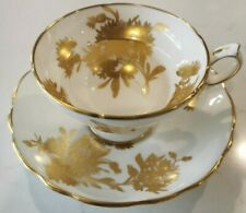 Hammersley Golden Cornflower Footed Teacup Cup & Saucer Great Shape!