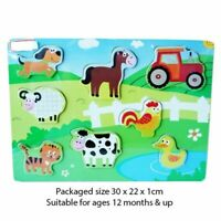 Wooden Animal Farm Puzzle Jigsaw Baby Kids Maths Logic Toys Learning Educational