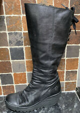 Fly London 'Yust' Black Leather Knee Length Wedge Platform Boots Size 5 / 38