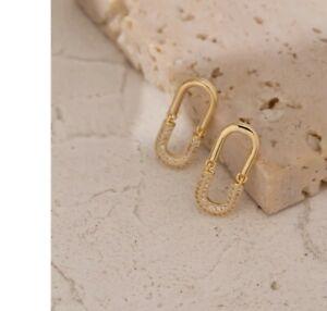 -we❤- High End stud Link Hoop Earrings Gold Colour Monaco