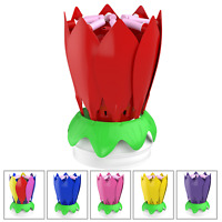 Birthday Cake Flower Candles with Happy Birthday Music Rotating Setup - Red