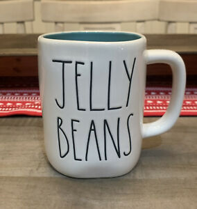 Rae Dunn By Magenta - LL JELLY BEANS - Teal Ceramic Coffee Mug - Easter 🐣Spring