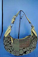 COACH Purse Signature Patchwork Hobo Khaki Yellow Trim Patent Leather Handbag