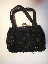 Vintage Beaded Handbag Metal frame with little Handles Black & Silver La Regale
