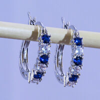 Hoop Earrings Charm Crystal 925 Sterling Silver Fashion Stud Women UK Jewellery