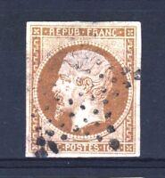 """FRANCE STAMP TIMBRE 9 """" LOUIS-NAPOLEON 10c BISTRE 1852 """" OBLITERE TB A VOIR T124"""