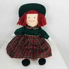 """Eden Madeline Christmas Doll 18"""" Soft Body Plaid Dress with Green Hat"""