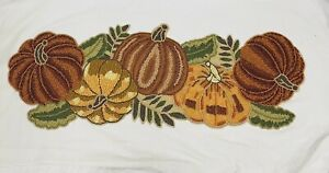 PIER 1 IMPORTS BEADED PUMPKIN FALL TABLE RUNNER COLORFUL