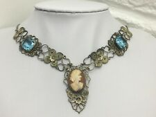 Vintage Cameo & Pale Blue-Glass Necklace & Bracelet Set