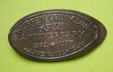 Warren Coin Club elongated penny Michigan Usa cent 1962 1977 souvenir coin