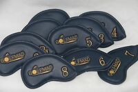 Golf Mad Black Leather Iron Covers Golf Headcovers for Callaway Taylormade