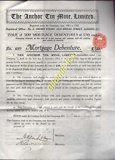 1910 AUSTRALIA - TASMANIA, THE ANCHOR TIN MINE LIMITED £50 DEBENTURE BOND