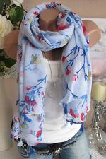 verano Borlas pañuelo paño Pañuelo Estola Floral blau-mehrfarbig