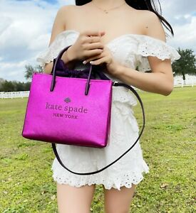 Kate Spade Trista Crinkle Metallic Convertible Pink Shopper Tote Crossbody