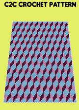 Geo Cubies Blanket  - C2C Graphghan Crochet Pattern