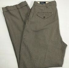 Vintage Polo Ralph Lauren Mens Brown Black Houndstooth Trousers 32x32 Dress Pant