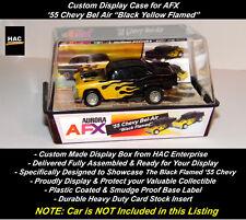 "Custom Display Case : AFX  '55 Chevy Bel Air ""Black Yellow Flames"""
