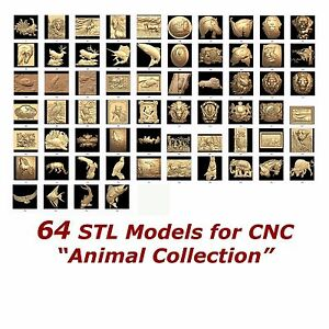 "64 3d STL Models - "" Animal Collection "" for CNC relief artcam 3d printer aspire"