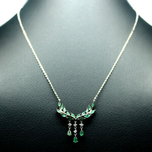 """NATURAL GREEN EMERALD & WHITE CZ NECKLACE 19"""" 925 SILVER STERLING"""