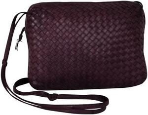 BOTTEGA VENETA Intrecciato Woven Leather Shoulder Bag Hobo Crossbody Bordeaux