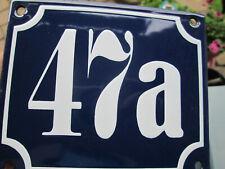 Hausnummer Emaille Nr. 47a weisse Zahl auf blauem Hintergrund 12 cm x 10 cm