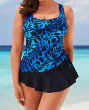 plus size LONGITUDE vintage sarong style TANK swimsuit 16 blue print
