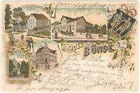 """Ansichtskarte Bünde - Stadtgarten/Wappen/Post/Naturheilbad """"Brunnen"""" Litho 1899"""