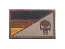GERMANY PUNISHER SKULL GERMAN FLAG MORALE TACTICAL HOOK PATCH DESERT TAN BADGE