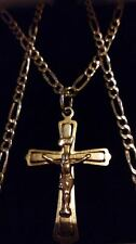 "Unisex solido 9 carati oro giallo celtico crocifisso cross & 18 ""CATENA necklace.gift BOX"