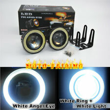 """2x 3.0"""" LED Fog Lights Projector With COB White Angel Eye Halo Rings High Power"""