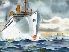 Nave DA CROCIERA OCEAN LINER BARCA Acquerello repro poster art print 443pylv
