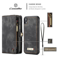 CaseMe 2 in1 Retro Vintage Leather Wallet Detachable Phone Case for iPhone XR
