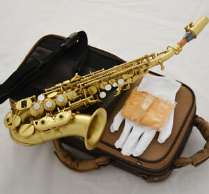 Professional Brushed Brass Bb soprano saxophone New curved sax with case