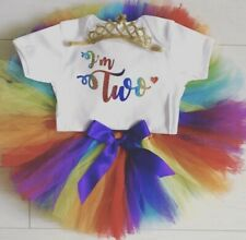 Luxury Girls 2nd Second Birthday Outfit Net Tutu Skirt & Top Set Rainbow Unicorn