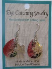 Fashion Earrings -Made with Fishing Lures- maple leaf charms - gold pink black