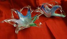 Set of Two Murano Arte Glass ITALY Lavorazione Bowl Candy Napkin Letter Holder
