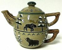 Sonoma Lodge Convertible Teapot & Teacup 3 Piece Ceramic Country Cabin Combo