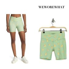 WEWOREWHAT Women's XSMALL Biker Shorts Polka Dot Floral Rise Print Green