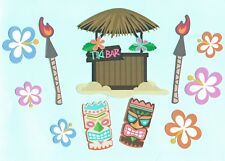 Tiki Die Cut Set, 11 pcs. Tiki Printed Die Cuts - Tiki Bar - Tiki Hut - Tropical