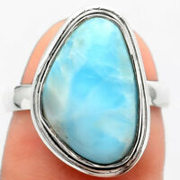 Larimar (Dominican Republic) 925 Sterling Silver Ring s.6.5 Jewelry 3398