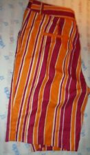 New $50 Fans Gone Wild orange bergundy stripeshorts size 10 womens pant 30 waist