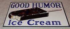 "VINTAGE ""GOOD HUMOR ICE CREAM BAR 12"" BAKED METAL TRUCK GASOLINE & OIL FOOD SIGN"
