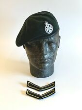 British Army-Issue Royal Green Jackets Beret, Badge & Chevrons. Size 56cm.