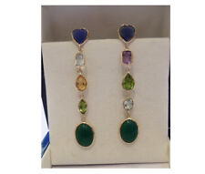 "14K Yellow Gold Multi Colored 3"" Drop/Dangle Earrings"